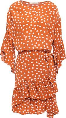 Maje Wrap-effect Ruffled Polka-dot Crepe Mini Dress