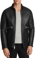 John Varvatos Collection Lambskin Shearling Leather Zip Jacket