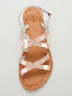 Very Hannah Strappy Leather Flat Sandals - Rose Gold Metallic
