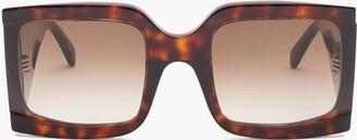 Celine Oversized Squared Tortoiseshell-acetate Sunglasses - Womens - Dark Brown