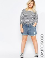Asos Mom Shorts in Mid Wash With Exposed Pockets