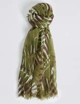 M&S Collection Palm Print Scarf