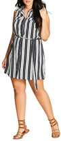 City Chic Striped Shirt Dress