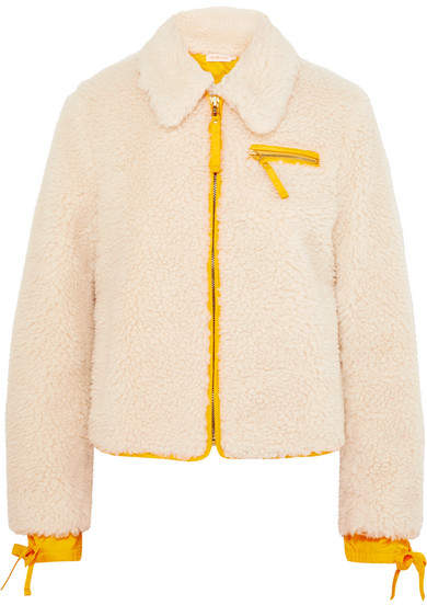 Tory Burch Shell-trimmed Faux Shearling Jacket - Ivory
