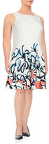 Ivanka Trump Plus Abstract Floral Dress