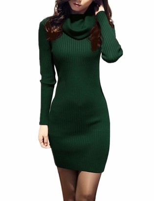 v28 Women Cowl Neck Knit Stretchable Elasticity Long Sleeve Slim Fit Sweater Dress - green - Small