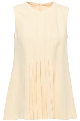 Valentino Pleated Silk Crepe De Chine Top