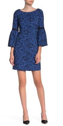 Laundry by Shelli Segal Bell Sleeve Stretch Jacquard Knit Mini Dress