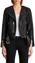 AllSaints Leather Collarless Balfern Biker Jacket, Black