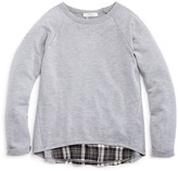 Pinc Premium Girls' Plaid Back Heathered Pullover - Sizes S-XL