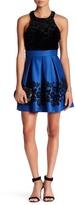 Trixxi Bow Back Flocked Velvet Floral Embroidered Twofer Scuba Dress