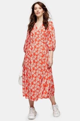 Topshop Red Floral Print Kimono Wrap Midi Dress