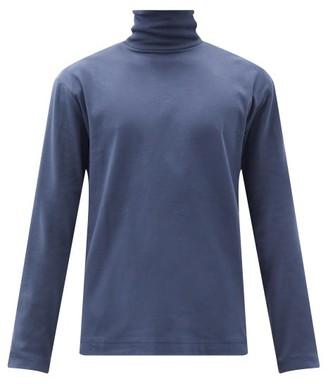 Sunspel Roll-neck Long-sleeved Cotton-jersey T-shirt - Navy
