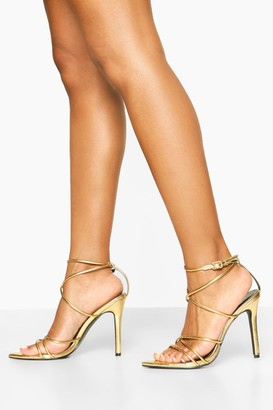 boohoo Pointed Toe Strappy Heels