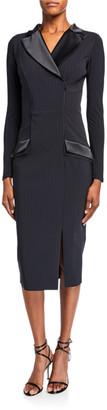 Chiara Boni Pinstripe Tuxedo Sheath Dress