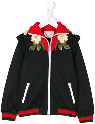 Gucci Kids Floral Embroidered Bomber Jacket