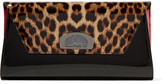 Christian Louboutin Vero Dodat Leopard-print Patent-leather Clutch - Black