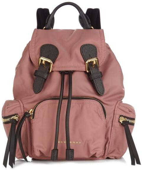Burberry - Medium Nylon And Leather Backpack - Womens - Dark Pink