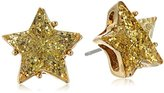 "Betsey Johnson Confetti"" Glitter Faceted Stone Star Stud Earrings"