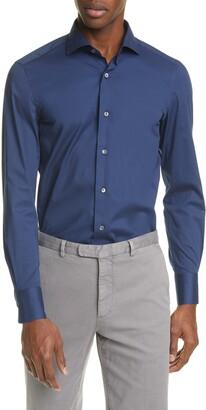 Boglioli Trim Fit Stretch Cotton Button-Up Shirt