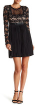 Romeo & Juliet Couture Long Sleeve Pleated Lace Dress