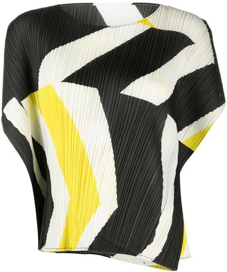 Pleats Please Issey Miyake Colour-Block Pleated Top
