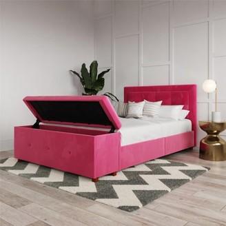 DHP Drew Upholstered Bed with Storage Chest, Full Size, Pink Velvet