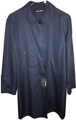 Giorgio Armani Navy Cotton Trench Coat for Women