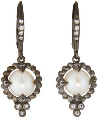 Freida Rothman Industrial Finish Single Pearl Drop Earrings