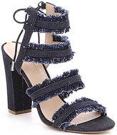 GUESS Evira Denim Banded Ankle Tie Block Heel Dress Sandals