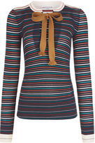 Sonia Rykiel Navy Stripe Ribbed Tie Neck Top