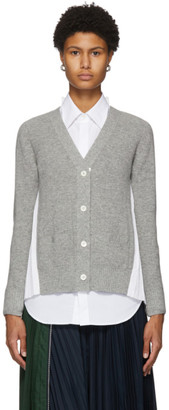 Sacai Grey and White Pleated Back Cardigan
