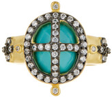 Freida Rothman 14K Gold Plated Sterling Silver CZ Turquoise Cage Ring
