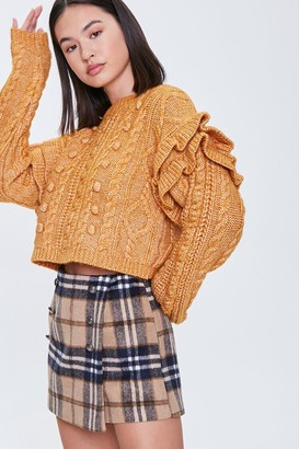 Forever 21 Cable Knit Ruffle Sweater