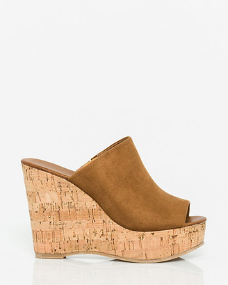 Le Château Faux Suede Open Toe Wedge Slide Sandal