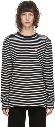 Ami Alexandre Mattiussi Black and White Ami De Coeur Mariniere Long Sleeve T-Shirt