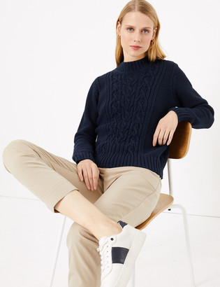 Marks and Spencer Cotton Cable Knit Relaxed Jumper