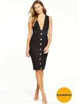 Rare Button Front Plunge Midi Dress - Black