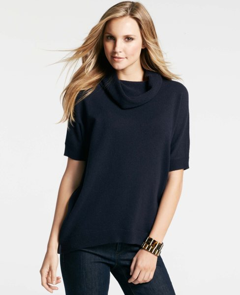 Ann Taylor Cashmere Cowl Neck Short Sleeve Sweater