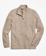 Brooks Brothers Wool Fisherman Cable Mockneck Sweater