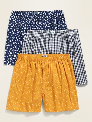 Old Navy Patterned Poplin Boxers 3-Pack for Men