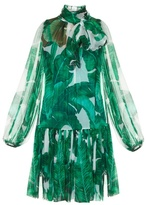 Dolce & Gabbana Banana leaf-print tie-neck chiffon dress