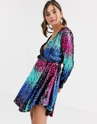 Collective The Label allover ombre sequin long sleeve mini dress in fuchsia and teal-Multi