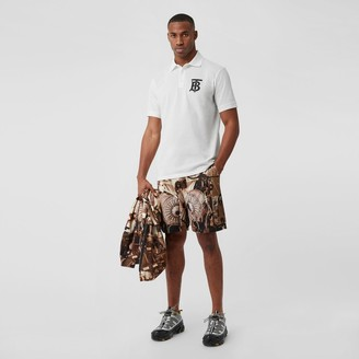 Burberry Monogram Motif Cotton Pique Oversized Poo Shirt