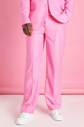 boohoo Mens Pink Relaxed Plain Suit Trousers, Pink
