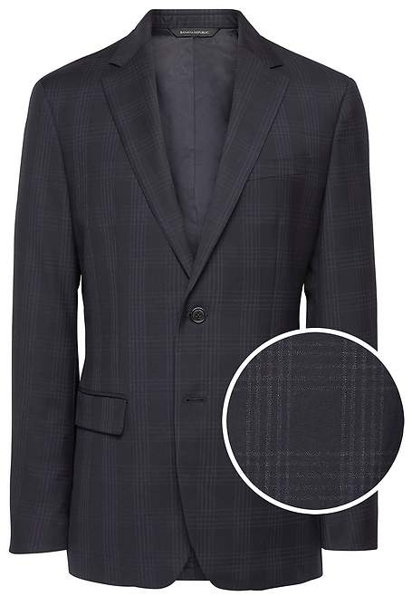 Banana Republic Slim Plaid Italian Wool Suit Jacket