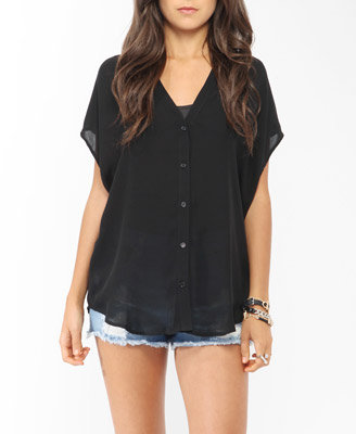 Forever 21 Oversized High-Low Button Up