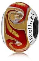 Lovelinks 925 Sterling Silver Dark Orange with Green Swirls Murano Glass Bead
