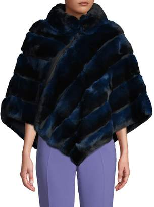 La Fiorentina Quilted Rabbit Fur Zip Poncho