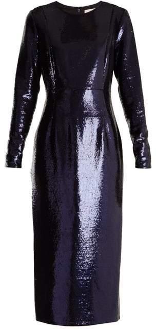 Diane von Furstenberg Round Neck Sequin Embellished Dress - Womens - Navy